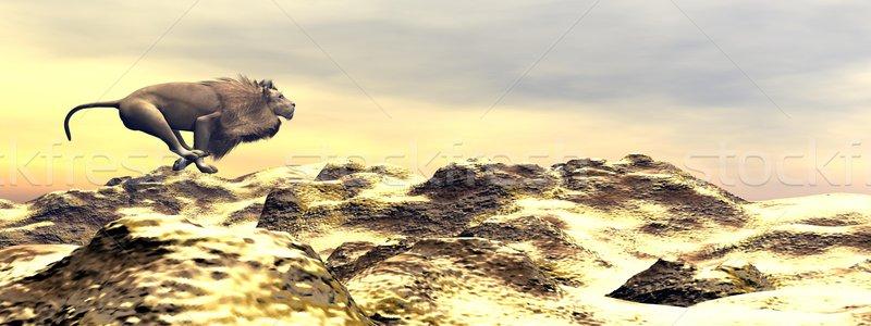 Lion running - 3D render Stock photo © Elenarts