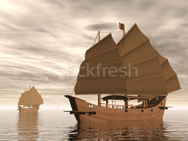 Kacat hajók 3d render kettő óceán barna Stock fotó © Elenarts