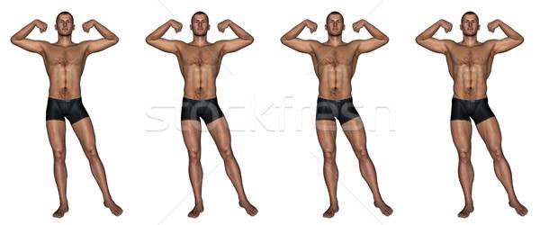 Stockfoto: Gespierd · man · 3d · render · ingesteld · vier · mannen