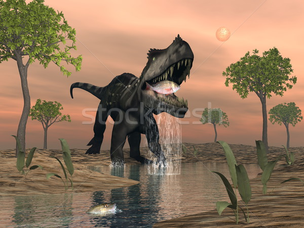 Prestosuchus dinosaur fishing - 3D render Stock photo © Elenarts
