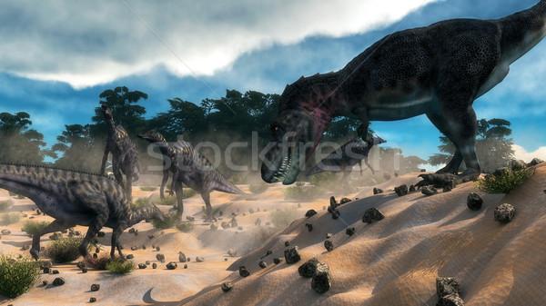 Saurolophus hunting tarbosaurus dinosaur - 3D render Stock photo © Elenarts