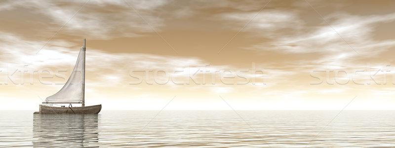 Zeilen boot 3d render een klein Stockfoto © Elenarts