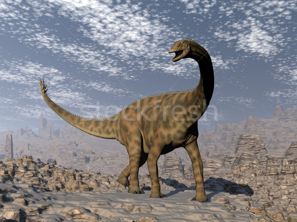 Spinophorosaurus dinosaur walking in the desert - 3D render Stock photo © Elenarts