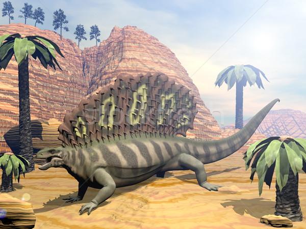 Edaphosaurus dinosaur - 3D render Stock photo © Elenarts