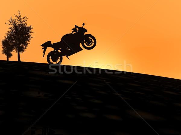 Motor schaduw zonsondergang een heuvel permanente Stockfoto © Elenarts