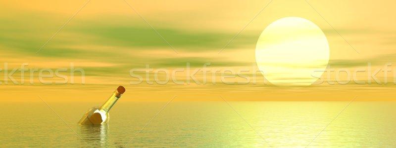 потеряли сообщение океана выделите прозрачный бутылку Сток-фото © Elenarts