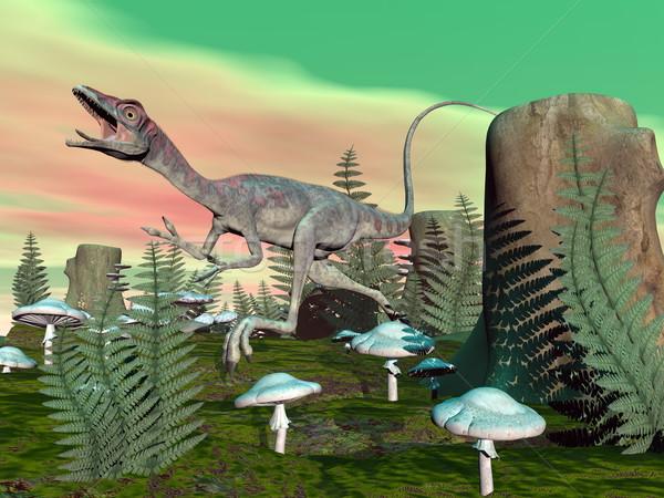 Dinosauro rendering 3d piedi funghi vegetazione cielo Foto d'archivio © Elenarts