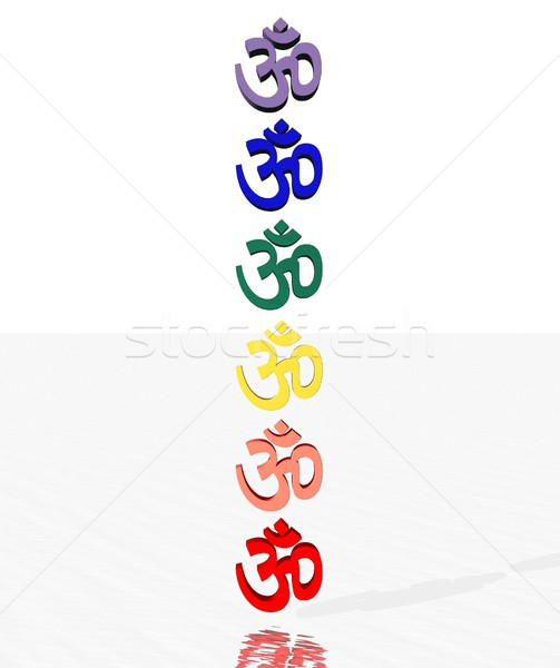 Colored aum / om in chakra column Stock photo © Elenarts