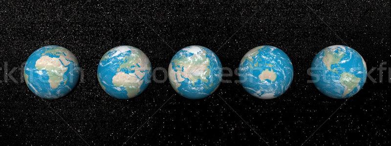 Cinquième continents rendu 3d terre univers Photo stock © Elenarts