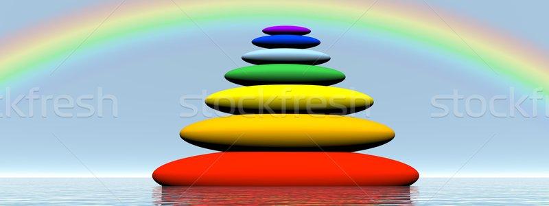 Chakras balanced stones - 3D render Stock photo © Elenarts