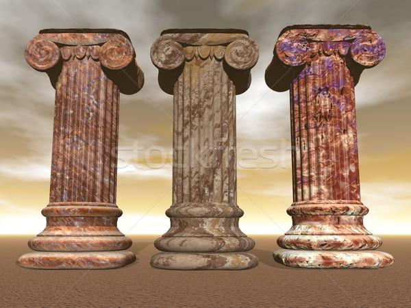 Pierre colonnes rendu 3d trois brun marbre Photo stock © Elenarts