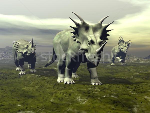 Dinosaurios caminando 3d tres día naturaleza Foto stock © Elenarts