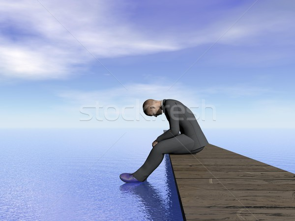 Businessman burn out - 3D render Stock photo © Elenarts