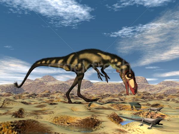 恐竜 3dのレンダリング 砂漠 狩猟 小 自然 ストックフォト © Elenarts