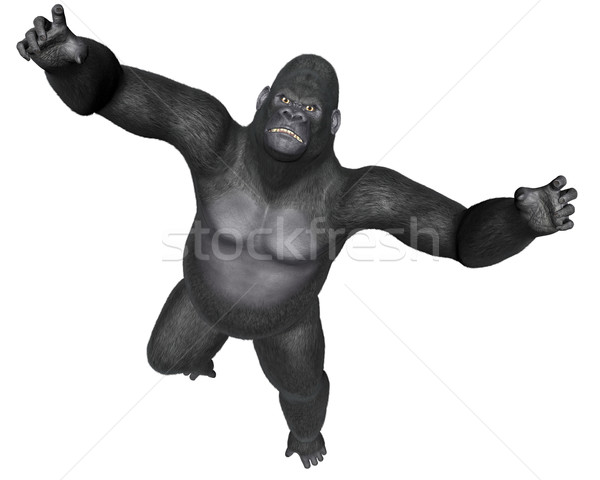 Angry gorilla jumping - 3D render Stock photo © Elenarts