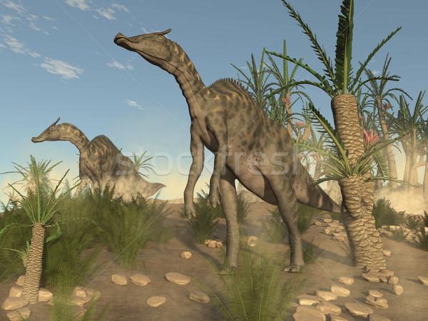 Saurolophus dinosaurs - 3D render Stock photo © Elenarts