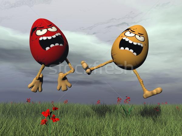 Easter crazy eggs - 3D render Stock photo © Elenarts