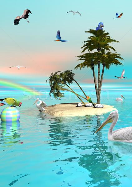 Cennet ada çok farklı güzel kuşlar Stok fotoğraf © Elenarts