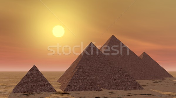 Mysterious pyramids by sunset Stock photo © Elenarts