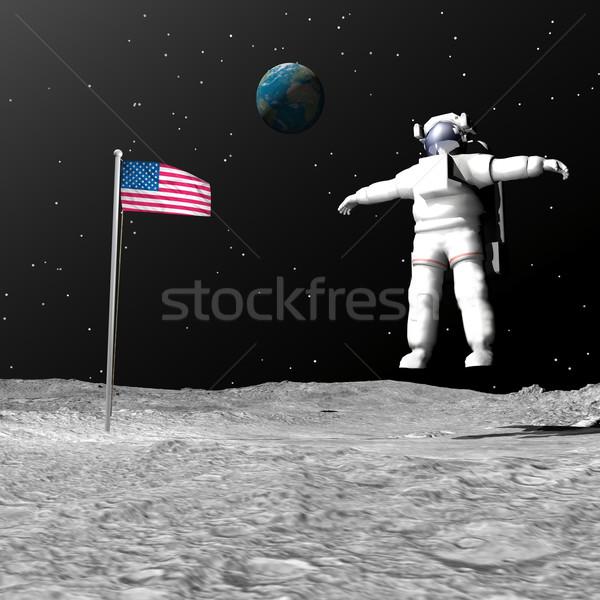 Eerste man maan 3d render astronaut Stockfoto © Elenarts
