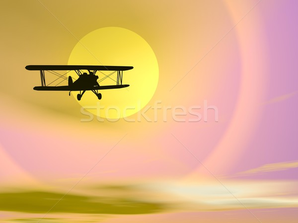 Atrás sol 3d render sombra pequeno voador Foto stock © Elenarts