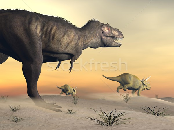 Triceratops escaping from tyrannosaurus- 3D render Stock photo © Elenarts