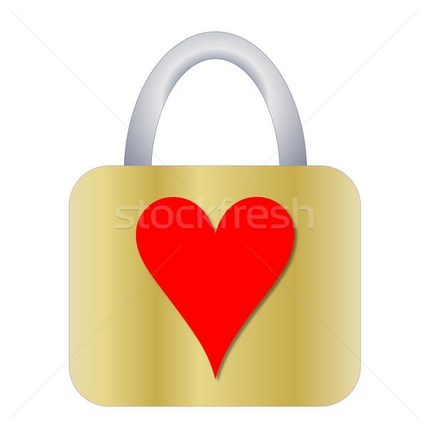 Kłódki serca złoty czerwony kształt serca projektu Zdjęcia stock © Elenarts