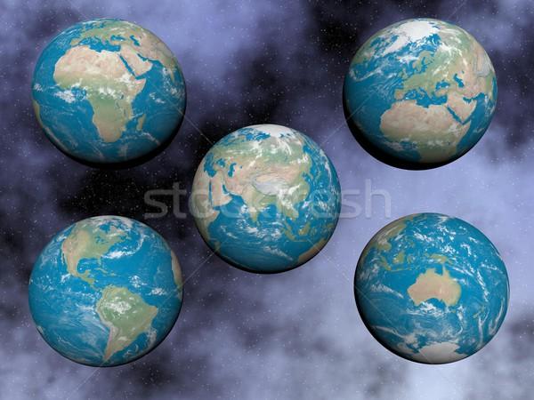 Continenten aarde 3d render communie afbeelding wolken Stockfoto © Elenarts