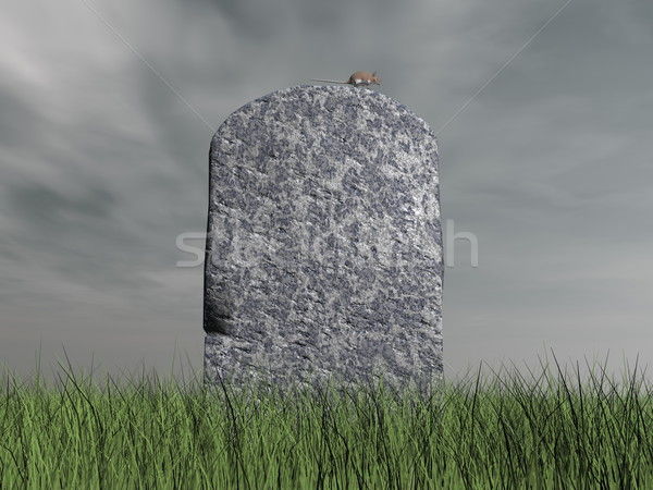 Mouse on tombstone - 3D render Stock photo © Elenarts