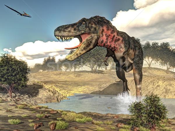 恐竜 3dのレンダリング 徒歩 植物 日 自然 ストックフォト © Elenarts
