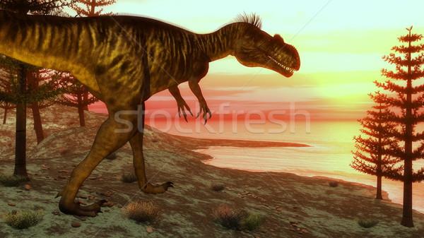 Megalosaurus dinosaur walking toward the ocean - 3D render Stock photo © Elenarts
