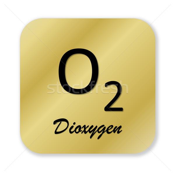 Foto stock: Símbolo · dourado · químico · fórmula · isolado · branco