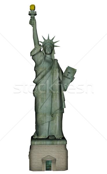 статуя свободы 3d визуализации изолированный белый дизайна Сток-фото © Elenarts