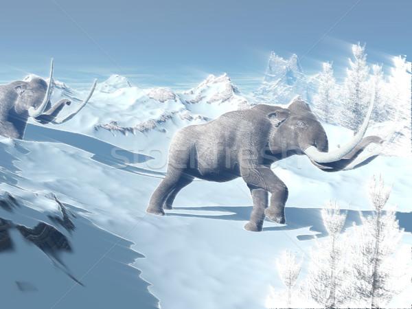 Mammoths walk in the wind Stock photo © Elenarts