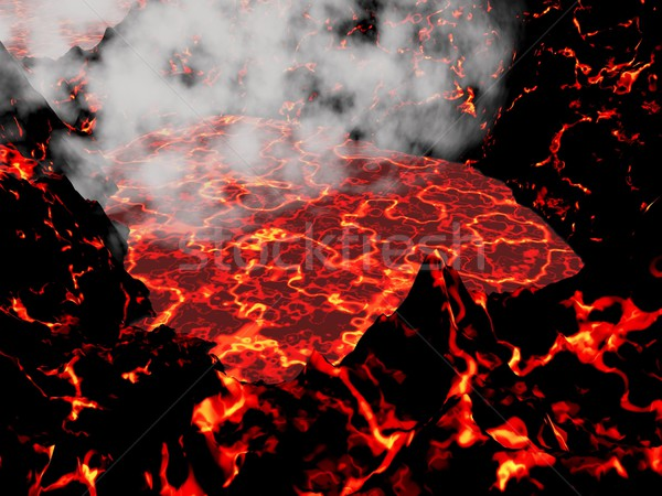 Heart of volcano - 3D render Stock photo © Elenarts
