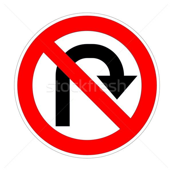 Do not u- turn on right sign Stock photo © Elenarts