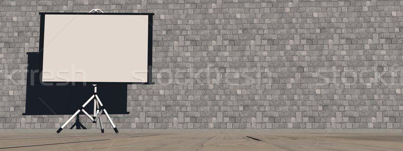 Empty white projector screen - 3D render Stock photo © Elenarts
