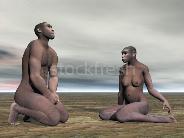 Homo erectus couple- 3D render Stock photo © Elenarts