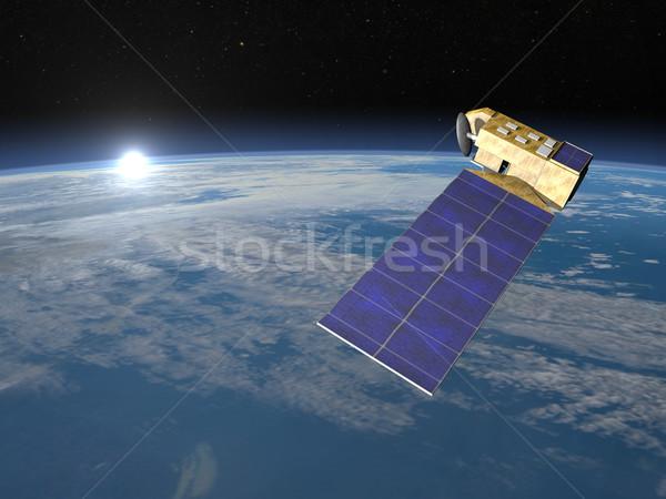 Aura satélite 3d render espaço terra Foto stock © Elenarts