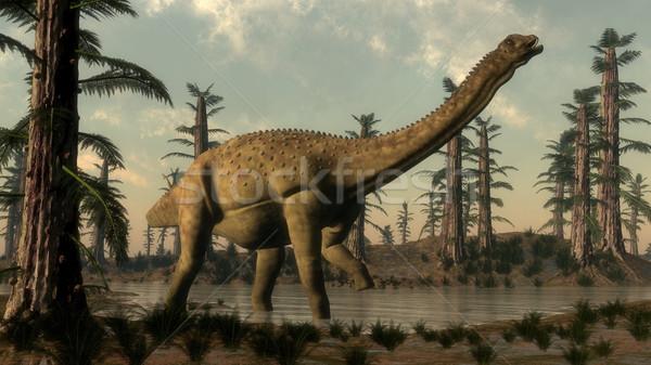 Uberabatitan dinosaur in the lake - 3D render Stock photo © Elenarts