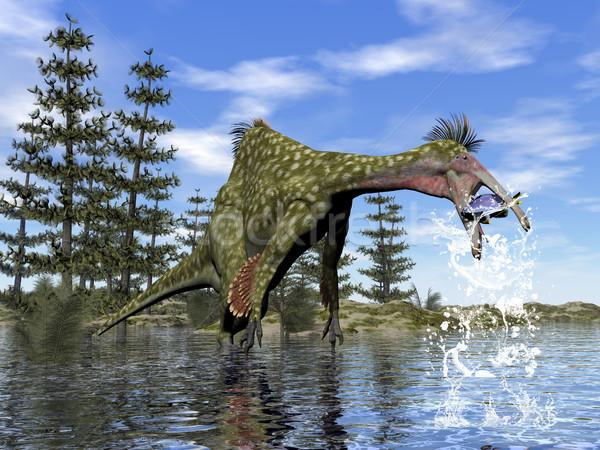 Dinossauro pescaria 3d render dia água peixe Foto stock © Elenarts