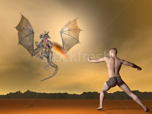 Man vechten draak 3d render jonge man brand Stockfoto © Elenarts