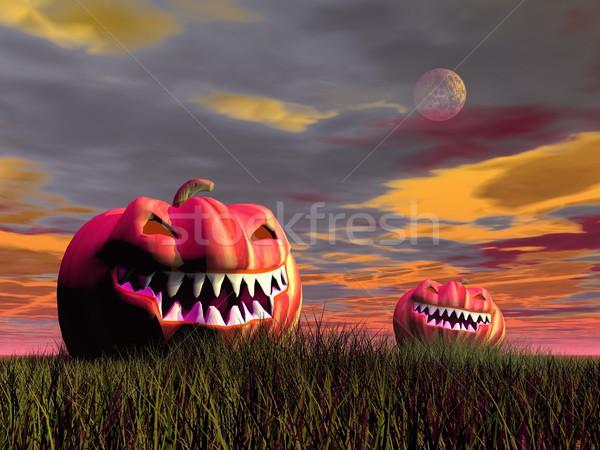 Stock photo: Smiling pumpkins for halloween - 3D render