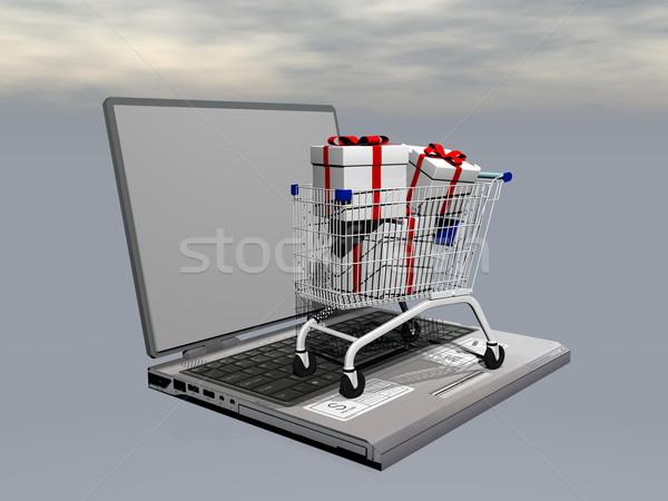 E-shopping gifts - 3D render Stock photo © Elenarts