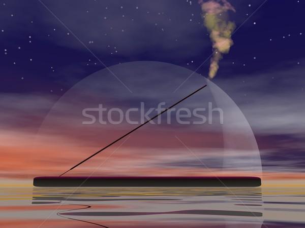 Wierook 3d render een stick rook water Stockfoto © Elenarts
