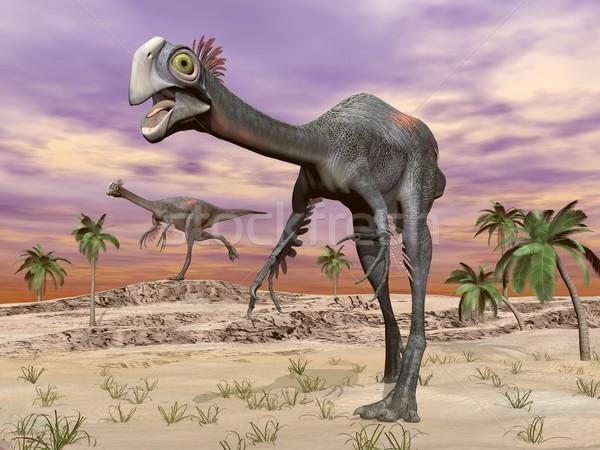 Gigantoraptor dinosaurs in the desert - 3D render Stock photo © Elenarts