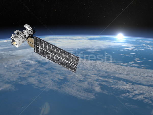 Aqua satellite - 3D render Stock photo © Elenarts