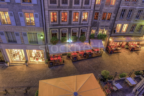 Rue vieux ville Suisse restaurants Photo stock © Elenarts