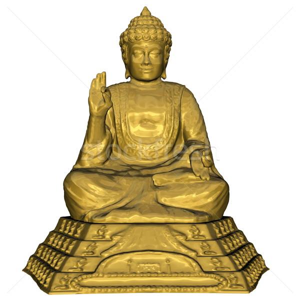 Gouden buddha 3d render mediteren geïsoleerd witte Stockfoto © Elenarts