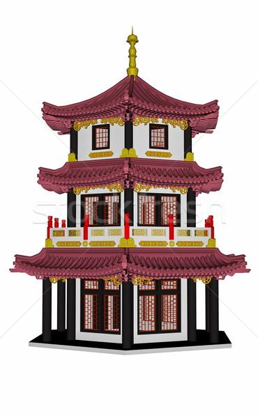 Pagoda 3d aislado blanco fondo arquitectura Foto stock © Elenarts